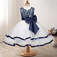 Great Child dress dress dress mesh bow lace princess dress performance clothing-white