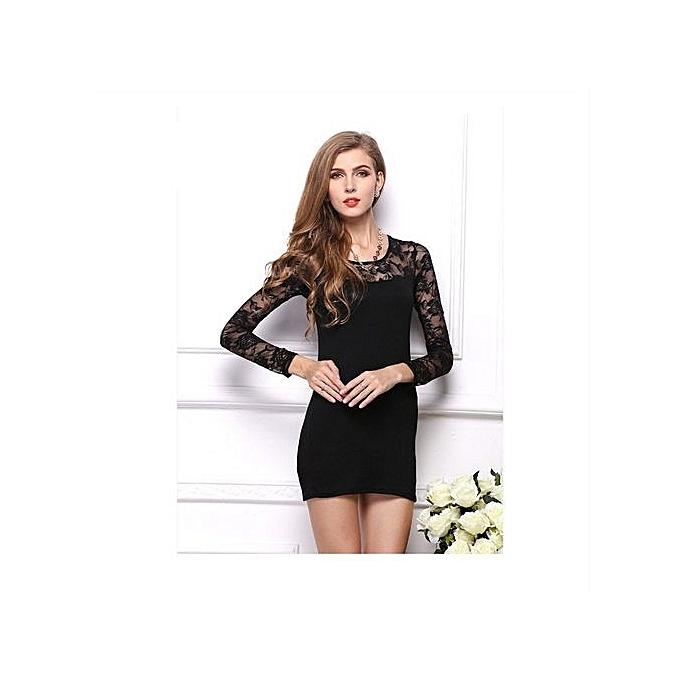 01b6f122775989 Black Fashion Sexy Women Lace Dress Vestidos Close-fitting Slim Long Sleeve  Dresses Party Evening
