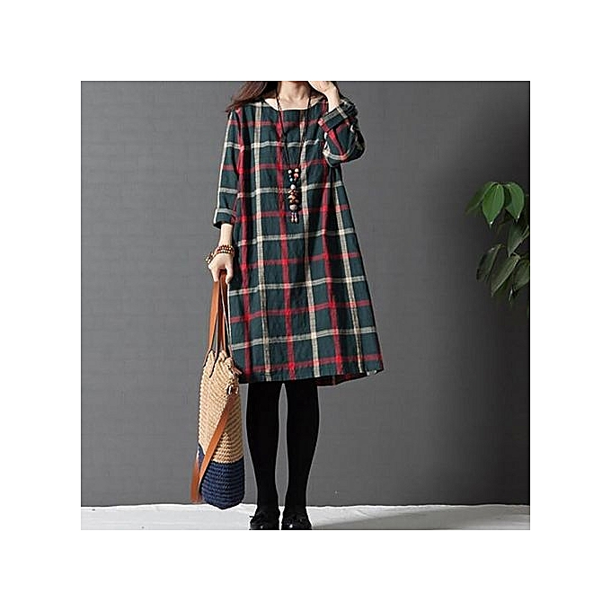 56ad73fe5a6a4 Celmia Womens Vintage Round Neck Long Sleeve Plaid Check Loose Cotton Linen  Midi Dress Green