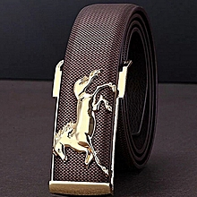 Hiamok_Gold Horse Leisure Leather Strap Business Men's Belt Metal Buckles Belt CO