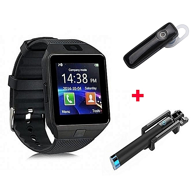 1c014b16fd Generic Dz09 Smart Watch Phone Black + Free Blutooth + Selfie Stick ...