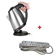 Cordless Elect Kettle With Free 4-Way Ext Cable- 2L- Silver.