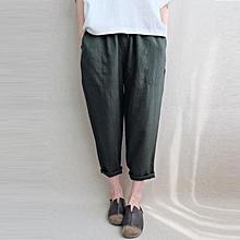 ZANZEA Cotton Linen Trousers Women Elastic Waist Side Pockets Solid Long Pants Dark Green