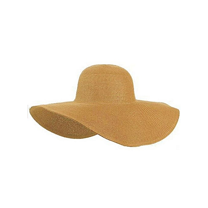 f14418c7507 Eissely Summer Women Foldable Wide Large Brim Floppy Beach Hat Sun Straw  Hat Ki