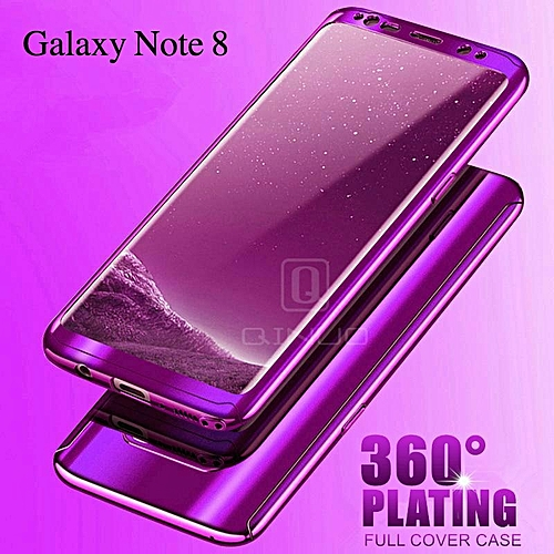 new styles f8f51 b9d3b For Samsung Galaxy Note 8 Case 360 Full Protection Mirror Casing For  Samsung Note 8 Cover Housing +screen Protector Film 254164 (Purple)