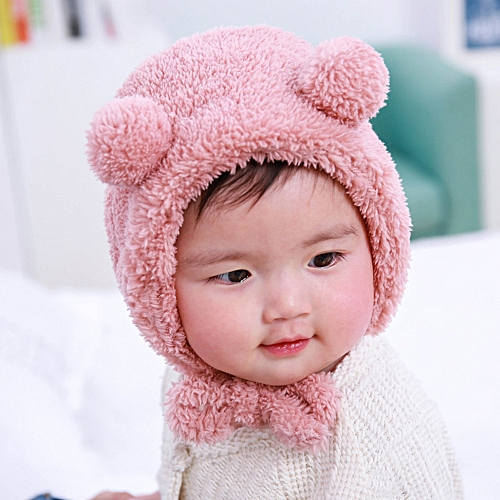 Generic jiuhap store Baby Toddler Girls Boys Warm Hat Winter Beanie Hat Cute  Bear Ear Plush Cap PK-Pink 0c8fcc547ad