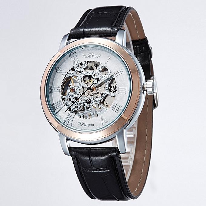 New Fashion Leather Strap watches Senior Gem Glass Manual Mechanical Men's Watches WINNER U8045 MQSHOP