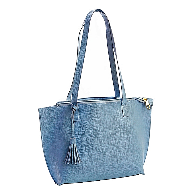 bebaeb95cc Fashion Women Pure Color Tassel Leather Messenger Shoulder Bag Chest Bag— blue ...