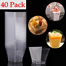 Elegant Square Mini 2oz Clear Tasting Sample Shot Glasses 40Ct Dessert Cups
