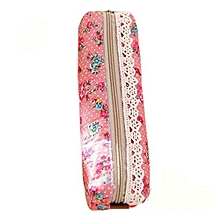 Retro Floral Pen Lace Pencil Case Zipped Holder Stationery School Pouch