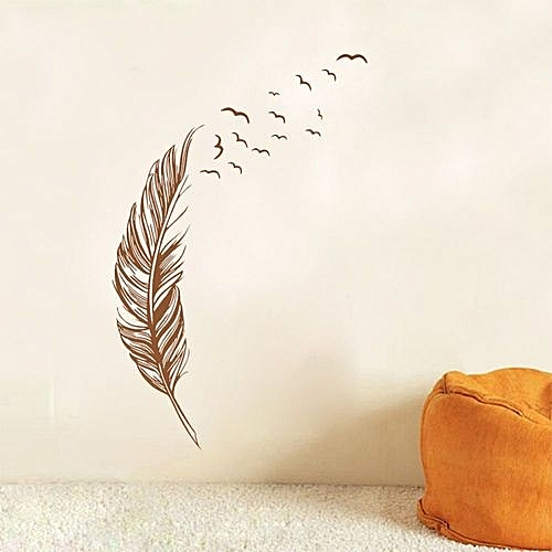 generic feather fly right removable wall stickers handmade wall art