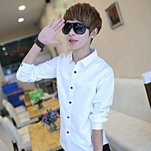 1PC Fashion Luxury Long Sleeve Mens Casual Slim Fit Stylish  Shirts WH/L-  White
