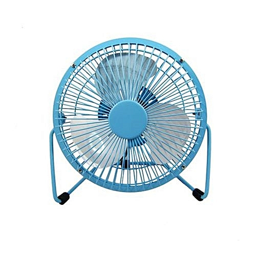 819 USB Power Supply 360 Degree Rotating Mini Portable Desktop Fan  (Color:Blue)
