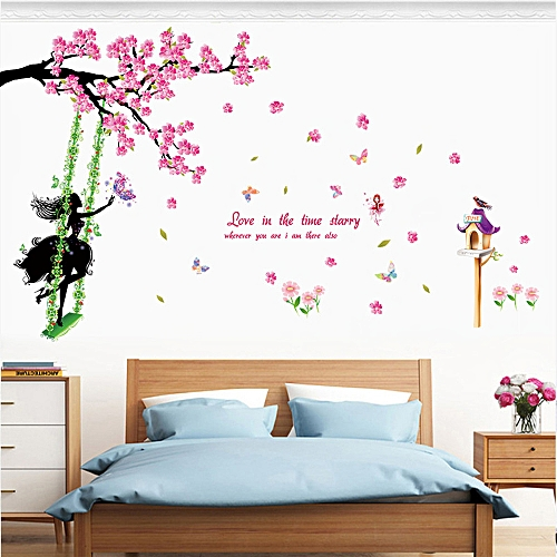 New Butterfly Flower Fairy Stickers Bedroom Living Room Wall Stickers Home  Decor-Multicolor