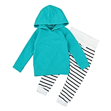 Toddler Kids Baby Boy Girl Outfit Clothes Hooded T-Shirt Tops+Stripe Pants 1Set