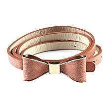 CA Fashion Women`s Candy Color PU Leather Thin Belt Thin Skinny Waistband Skin Pink