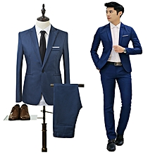 New Men Suit Business Jackets Two-piece Suit Office Work Wedding Clothing Mens Slim Suit Solid Color Male Coat + Trousers (China Size)