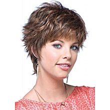 Short Brown Natural Straight Wigs For Women Daily Wear