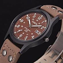 Watch Vintage Classic Men's Waterproof Date Leather Strap Sport Quartz Army Watch-coffee