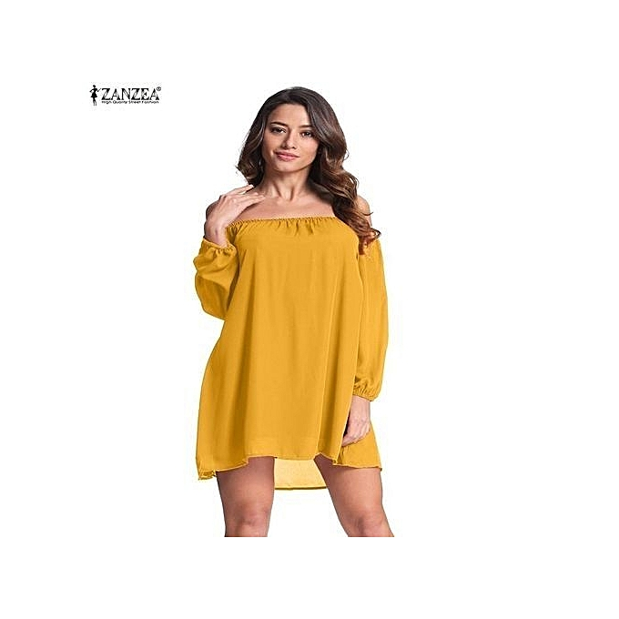1dc687171e17 ZANZEA Womens Slash Neck Big Size Long Sleeve Loose Off Shoulder Party Mini  Short Dress (