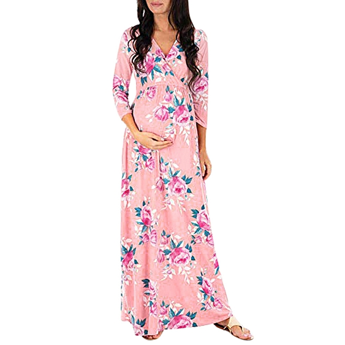 7cdd7406e975a Women Wraped Ruched Maternity Pregnant Floral 3/4 Sleeve V Neck Long Loose  Dress