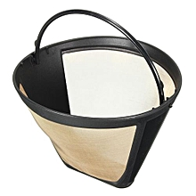 Permanent Coffee Maker Filter #4 Cone Style Gold Stainless Steel Mesh Basket New