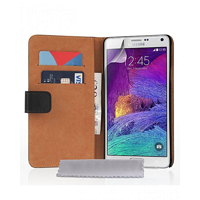 cheap for discount 890d0 9855a Samsung Galaxy Note 4 Real Leather Wallet Case - Black