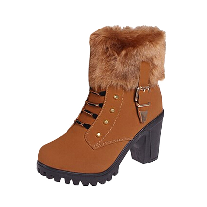huskspo Fashion Women High Heel Half Short Ankle Boots Winter Warm Heels  Boot Shoes 1a4a9aec2e3f