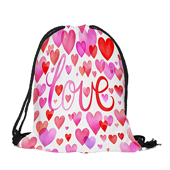 669fefea3edf Tectores Fashion Trend Valentine s Day Drawstring Bag Sack Sport Gym Travel  Outdoor Backpack Bags Gift