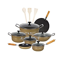 Fine Stylish 15 pieces non-stick cooking set (Glass Lids) - Golden