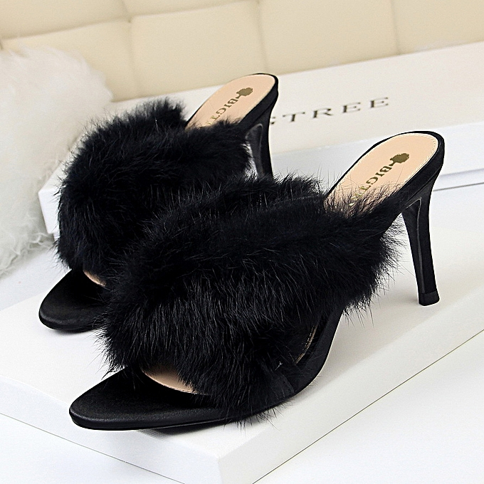 7dfb385fa991 Women Fashion New Elegant Shoes Stiletto High Heel Rabbit Fur Cross With  Open Toe Banquet Hairy
