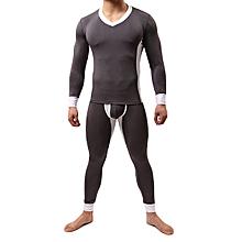 Mens Contrast Color Thin Slim Modal Pajamas Suit Casual Sleepwear Set