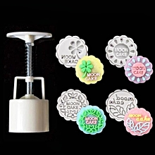 3D 4 Style Stamps Round Letter Moon Cake Mold Mould White Set Mooncake Decor 50g
