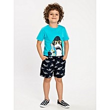 Boy Navy Blue Printed Shorts