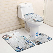 3Pcs Bath Mat Anti-Slip Pedestal Mat Toilet Bathroom Rug Beach Starfish Decor