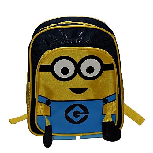 Generic Minions Kids School Bag - Yellow   Black - 2 Side Pockets ...
