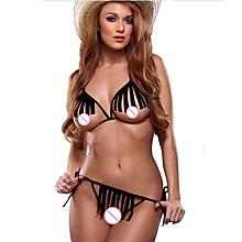 singedanSexy Lingerie Women's  Underwear Set Babydoll Sleepwear + G-string -Black