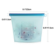 Blue Reusable Silicone Food Storage Fridge Bags 1000ml