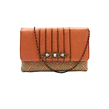Checkered Clutch with Snazzy Brooch - Pink