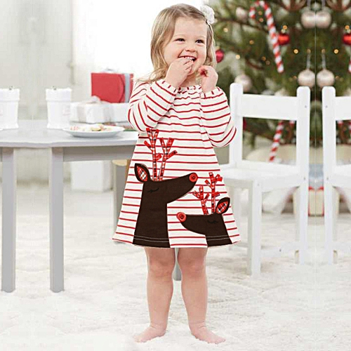 f347ed11ac41d Generic Toddler Kids Baby Girls Deer Striped Princess Dress Christmas  Outfits Clothes