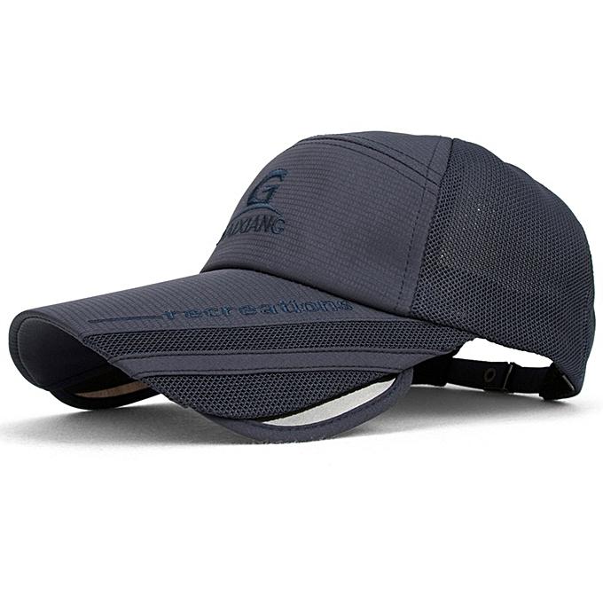 3d7d1adadcc ... Unisex Men Women Polyester Mesh Wide Brim Baseball Cap Adjustable  Breathable Outdoor Hat