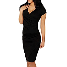 Women Fashion V-Neck Dress Sexy Slim Asymmetrical Dress