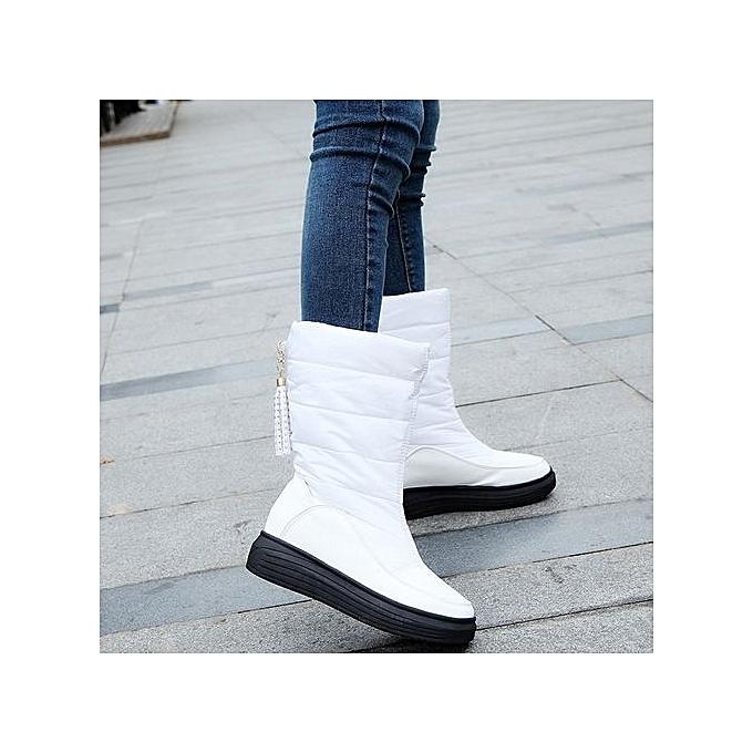 b787e4f34a bluerdream-Winter Warm Snow Boots Cotton Shoes Flat Heels Knee High Boots  Women Boots WH