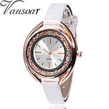 Lady  Leather Wrist Watch Vansvar Vansvar Women's Casual Quartz Leather Band Newv Strap Watch Analog Wrist Watch-White