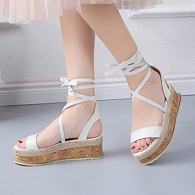cc9f7e024f4f ... ALEX most popular best rating lowest price Ladies Women Roman Shoes  Platform Woven Thick-Bottom ...