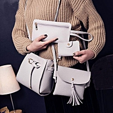 bluerdream-Women Four Set Fashion Handbag Shoulder Bag Four Pieces Tote Bag Crossbody Wallt- Gray