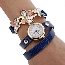 Women's Flower Sling Chain Watch Wrap Circle Button Wristwatch Blue