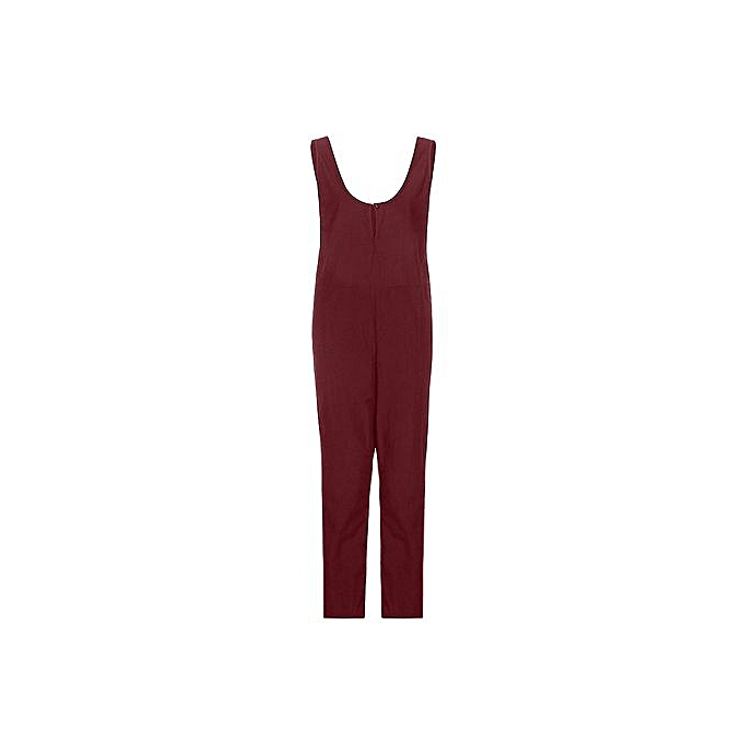 939a3786278 Hiaojbk Store Women Sleeveless Dungarees Loose Cotton Playsuit Jumpsuit  Pants Trousers RD L-Red