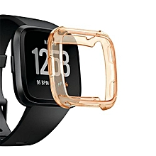 Watch TPU Silicone Cover Case Watch Casing Guard Protector For Fitbit Versa Smart Band-Orange