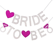 Bride to be glitter banner,silver and pink